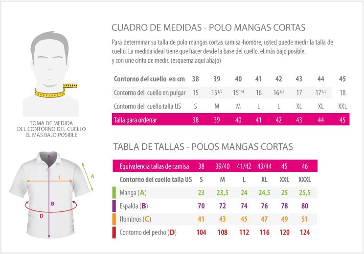 cuadros de medidas - POLO MANGAS CORTAS